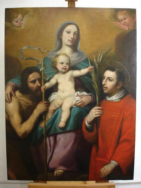 Tableau d'autel : Vierge à l'enfant entre saint Jean-Baptiste et saint Laurent, vue générale
