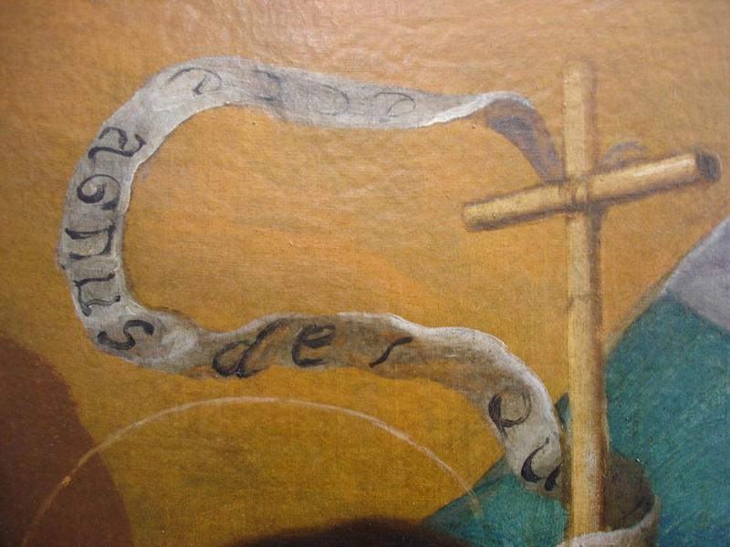 Tableau d'autel : Vierge à l'enfant entre saint Jean-Baptiste et saint Laurent, détail
