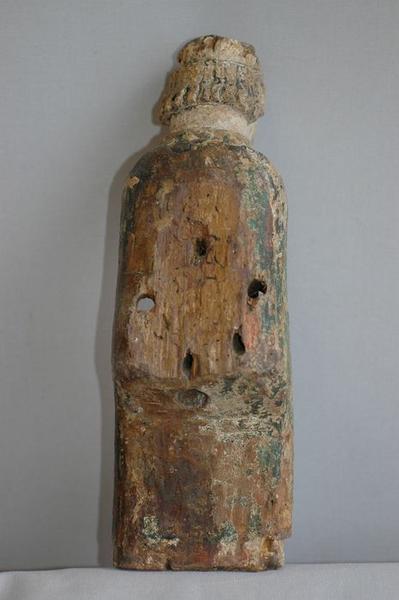 Statue : Vierge à l'enfant, vue partielle, revers de l'enfant