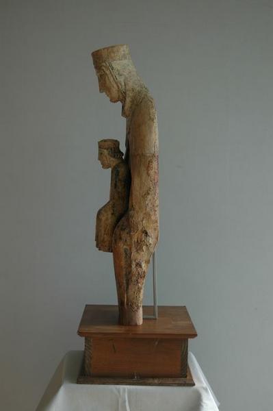 Statue : Vierge à l'enfant, vue générale, profil droit