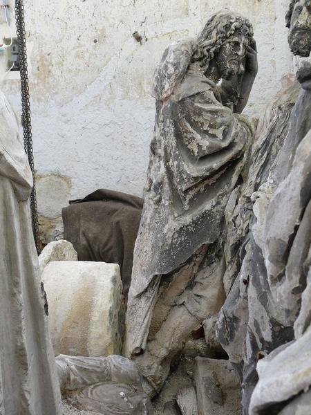 Statue(fragment) : saint Jacques, vue partielle