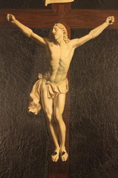 Tableau en trompe-l'oeil et son cadre : Christ en croix, vue partielle