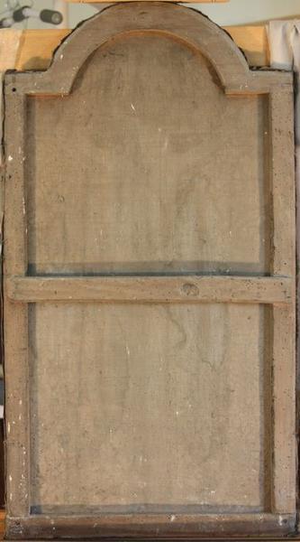 Tableau en trompe-l'oeil et son cadre : Christ en croix, vue générale du revers du cadre