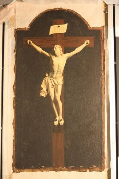 Tableau en trompe-l'oeil et son cadre : Christ en croix, vue générale