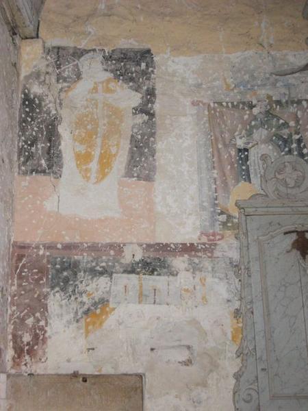 Peinture monumentale, chapelle nord, vue partielle, saint évêque non identifié