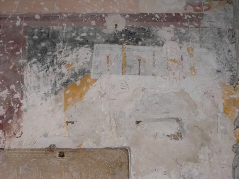 Peinture monumentale, chapelle nord, vue partielle, messe de saint Martin