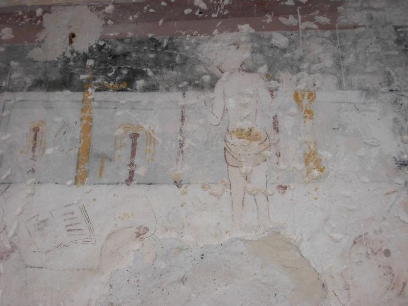 Peinture monumentale, chapelle nord, vue partielle, messe de saint Martin, détail