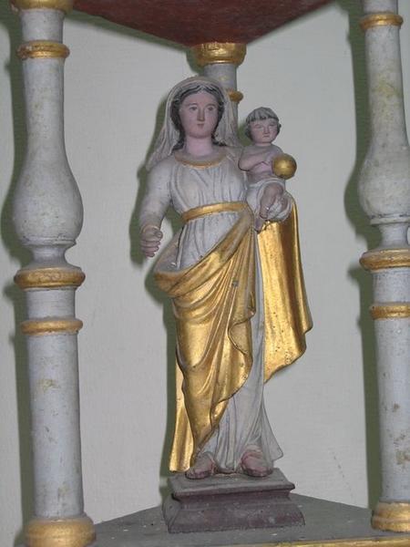 Bâton de procession: Vierge à l'enfant, vue partielle
