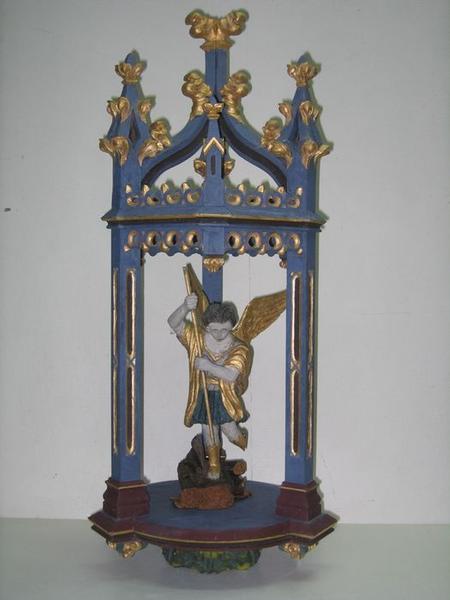 Bâton de procession: saint Michel terrassant le dragon, vue partielle