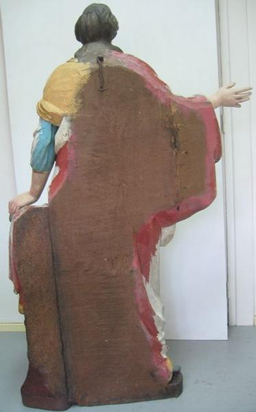 Statue : sainte Barbe, vue générale du revers