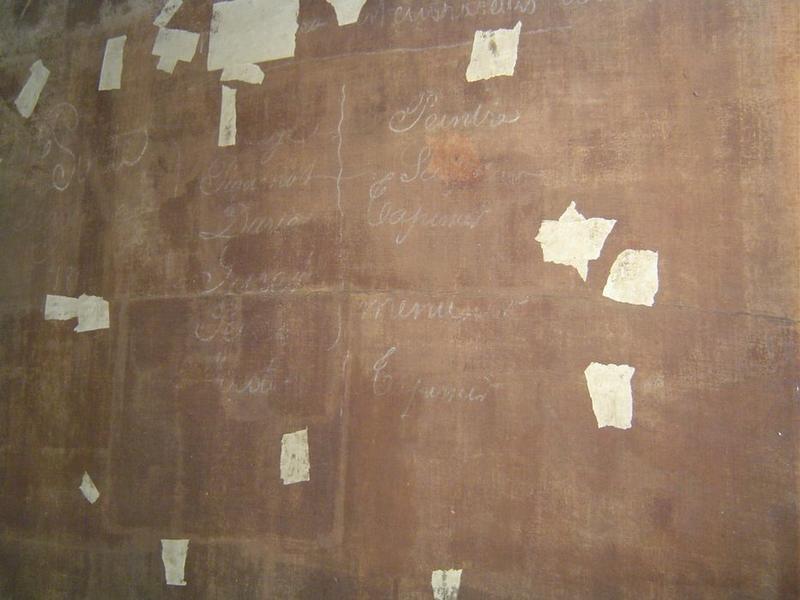 Tableau: La Cène, détail des inscriptions du revers