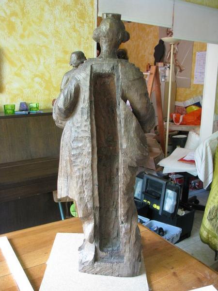 Statue : Vierge à l'Enfant, vue générale du revers