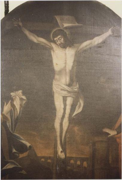 tableau : Christ en croix avec Marie et saint Jean l'Evangéliste, vue partielle