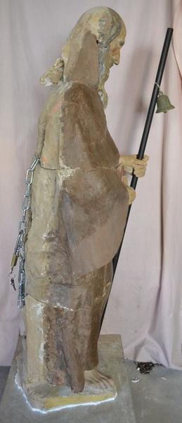Statue : saint Antoine ermite, vue générale, profil droit