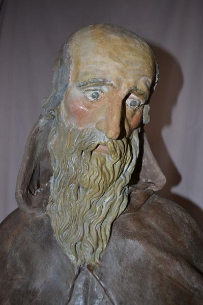 Statue : saint Antoine ermite, vue générale, détail