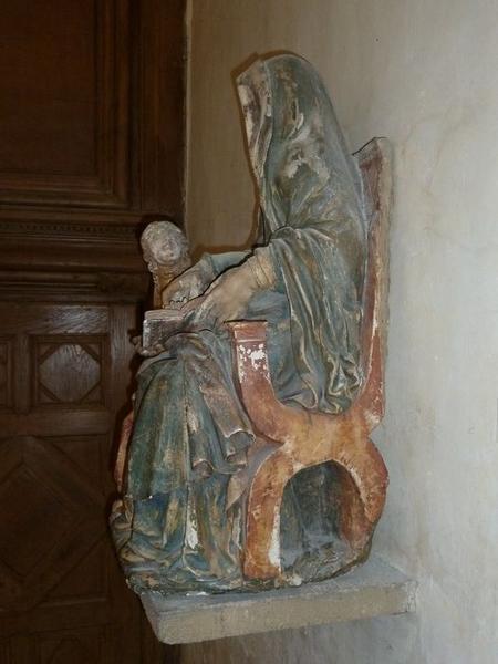 Groupe sculpté: éducation de la Vierge (l'), vue générale, profil gauche