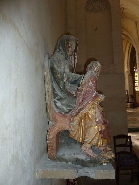 Groupe sculpté: éducation de la Vierge (l'), vue générale, profil droit