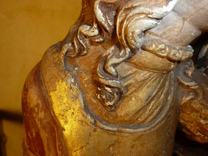Groupe sculpté: éducation de la Vierge (l'), détail