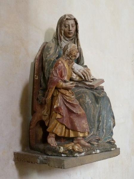 Groupe sculpté: éducation de la Vierge (l'), vue générale