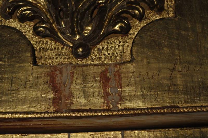 Retable de saint Benoît, détail d'un graffitti