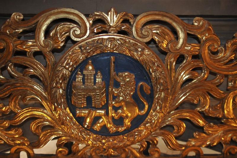 Retable de saint Benoît, détail: armoiries du donateur