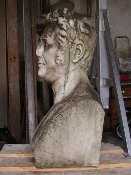 Statue (buste): Augustin Pyramus de Candolle, vue générale, profil gauche