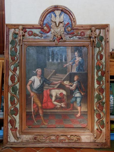 Tableau et son cadre : la Décollation de saint Jean-Baptiste, vue générale