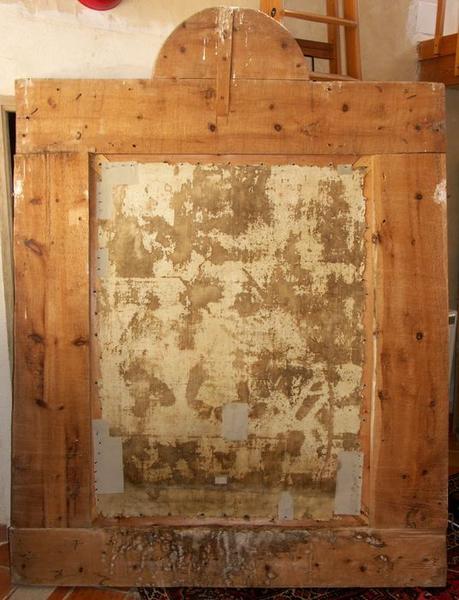 Tableau et son cadre : la Décollation de saint Jean-Baptiste, vue générale du revers