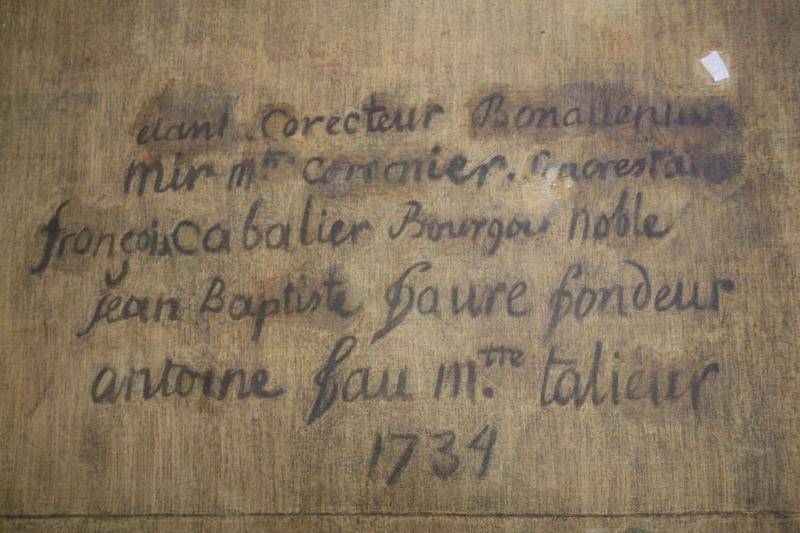 Tableau: entrevue de saint François de Paule et de Louis XI, détail de revers