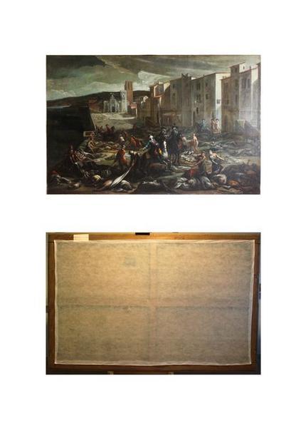 tableau : La peste à Marseille, épisode de la Tourette, vues générales