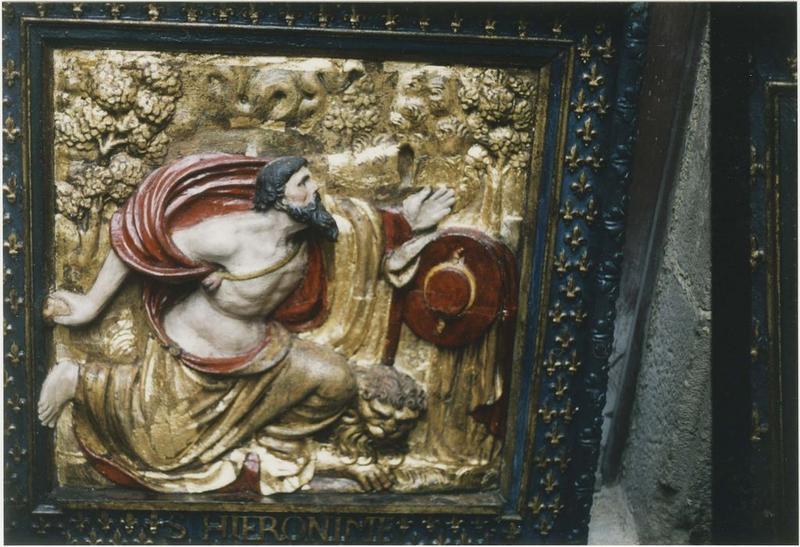 Demi-relief, cadre : saint Jérôme pénitent