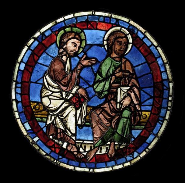 Verrière (rose) : le Jugement dernier, Christ juge (le), la Résurrection des morts, apôtres (les), élus et damnés (baie 143)