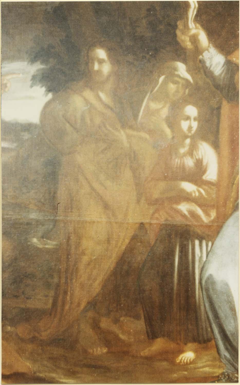 Tableau et son cadre : saint Arnoux montrant le crucifix