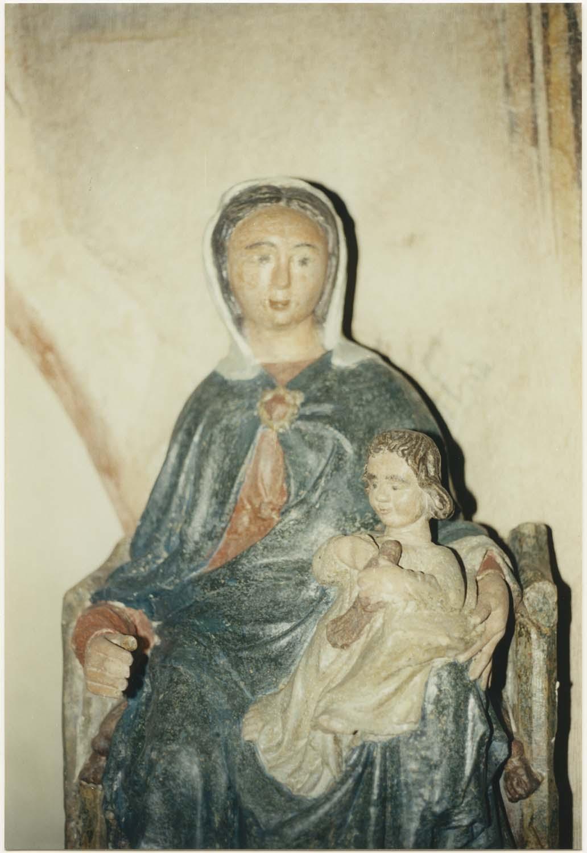 statue (petite nature) : Vierge à l'Enfant assise