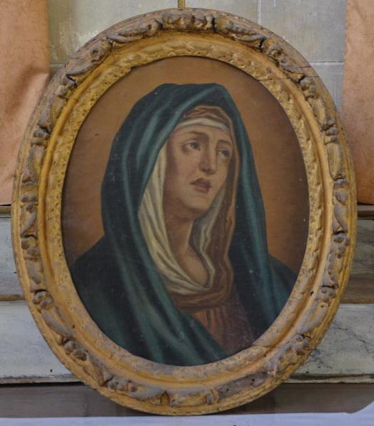 Ensemble de deux tableaux et leurs cadres : Christ souffrant, Vierge de douleur