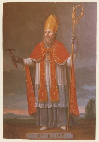 Autel, retable, tableau de saint Eloi : saint Eloi en évêque