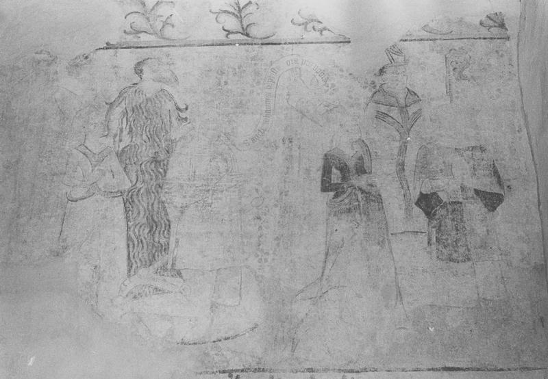 peintures monumentales (5) : danse macabre, prophètes (les), combat des vertus et des vices (le), dit des trois morts et des trois vifs (le), anges, donateurs, détail