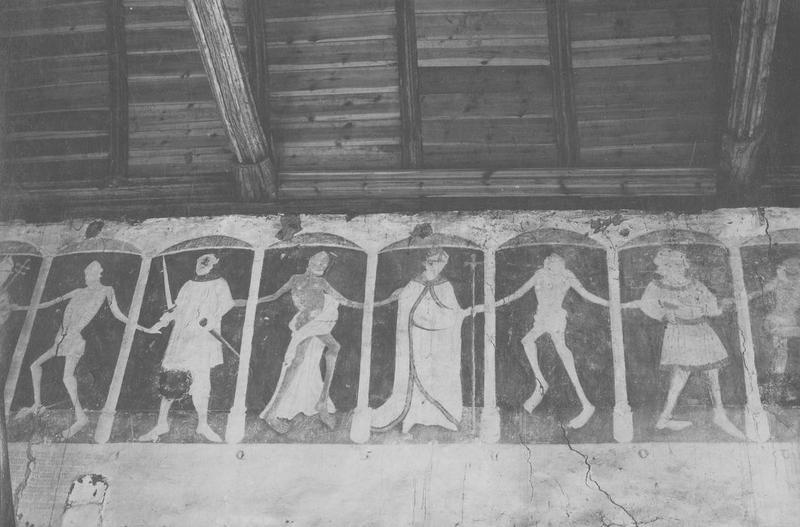 5 peintures monumentales : Danse macabre, les prophètes, le Combat des vertus et des vices, le Dit des trois morts et des trois vifs, anges, donateurs