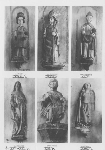 statues : saint Michel, sainte Barbe, saint Eloi, saint Claude, saint Nicodème, sainte Berte, vue générale