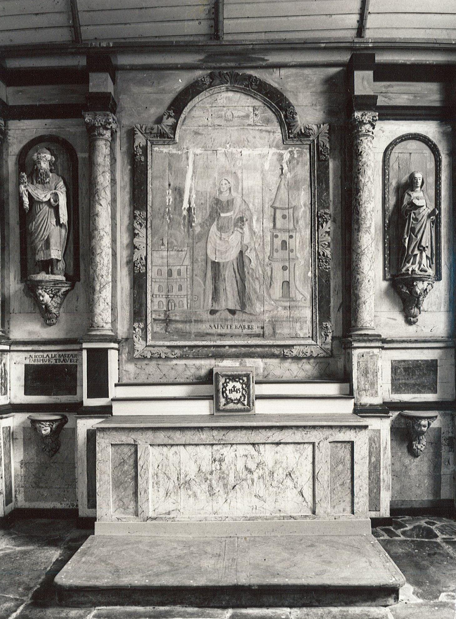 Autel latéral sud, son retable dit de Sainte-Barbe et tableau : Sainte Barbe