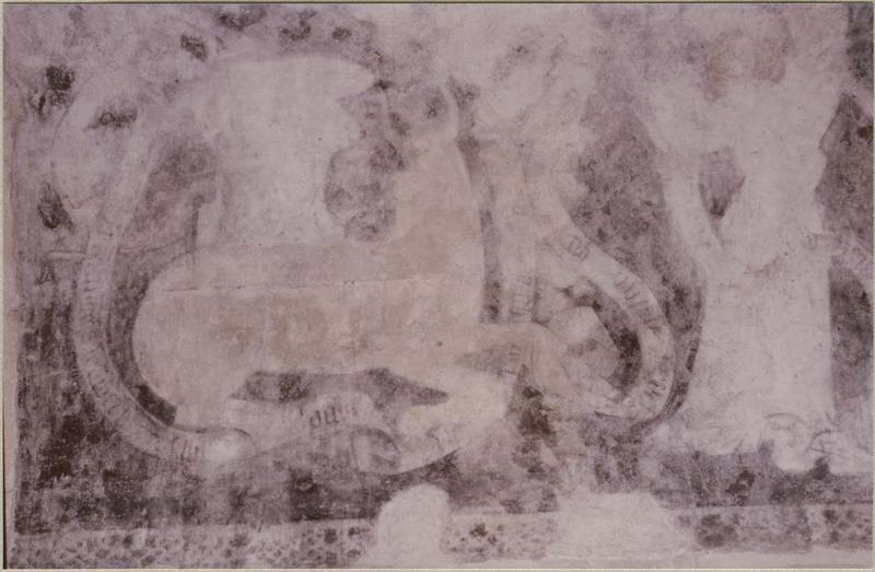 Peinture murale: Christ en gloire entouré des symboles des évangélistes, détail