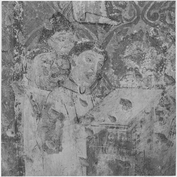 Peinture monumentale : visite d'un évêque, détail