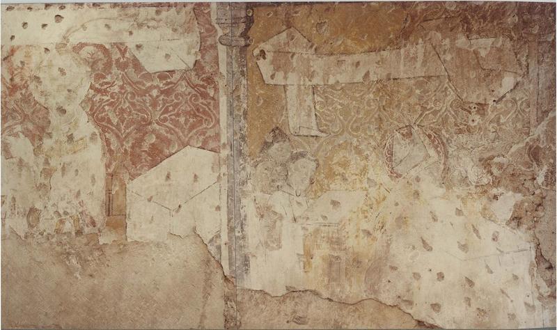 Peinture monumentale : visite d'un évêque, vue partielle