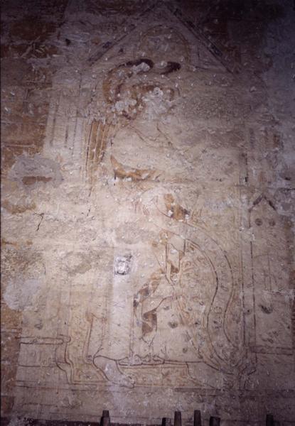 peinture monumentale du mur ouest de la nef, vue partielle : ange de l'Annonciation