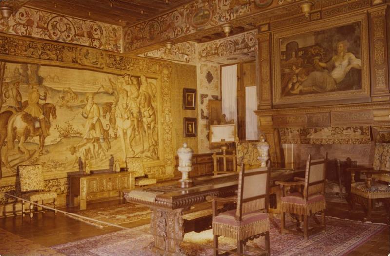 Lambris, peintures, plafond, 2 cheminées