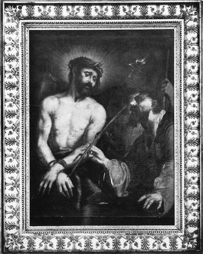tableau : Le Christ aux outrages, huile sur toile et son cadre, 18e siècle
