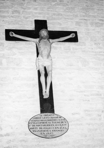 statue : Christ en croix, bois polychrome, 16e siècle