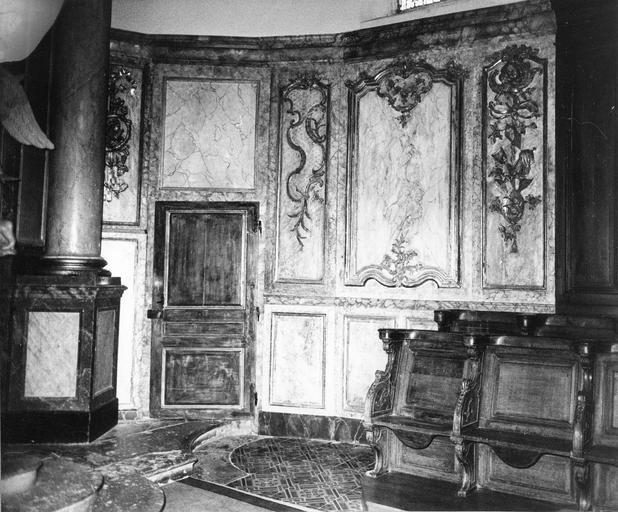 lambris de revêtement du choeur, bois polychrome et doré, 18e siècle