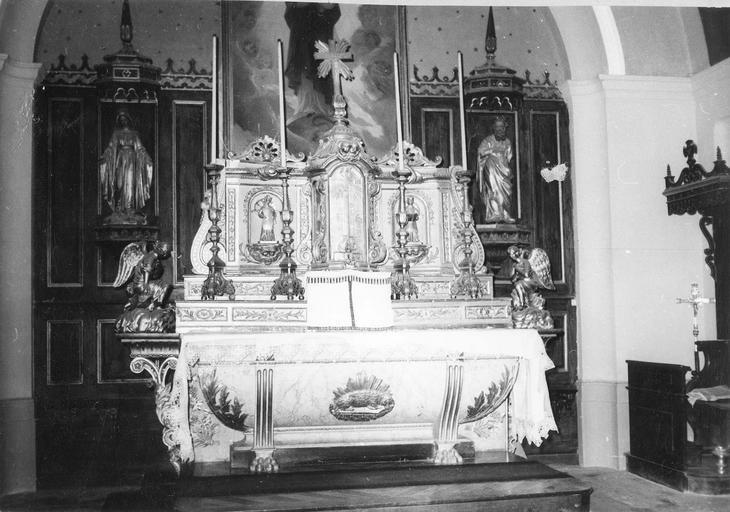 maître-autel avec tabernacle et chandeliers, 18e et 19e siècles