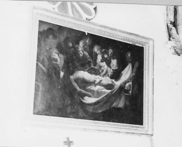 tableau : La Mise au tombeau, huile sur toile, attribuée à Gérard Seghers, 17e siècle